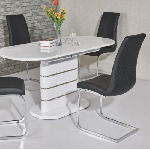 JP DT5215 Dining table 120/160 cm White Gloss (Medium) & JP CH998 Black Chairs From Jesse plana